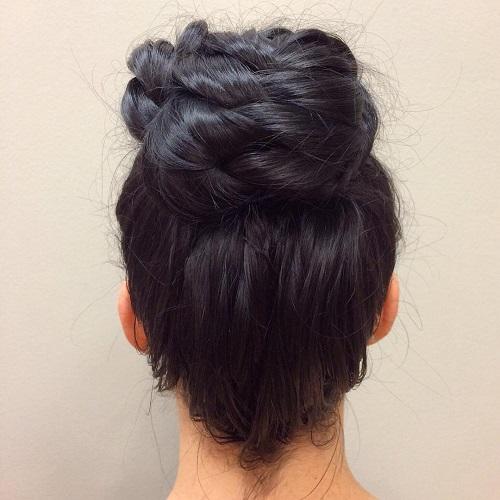 messy braided bun updo