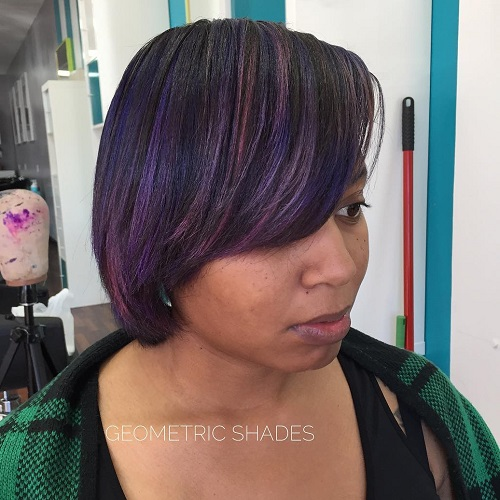 Black Bob With Purple Highlights