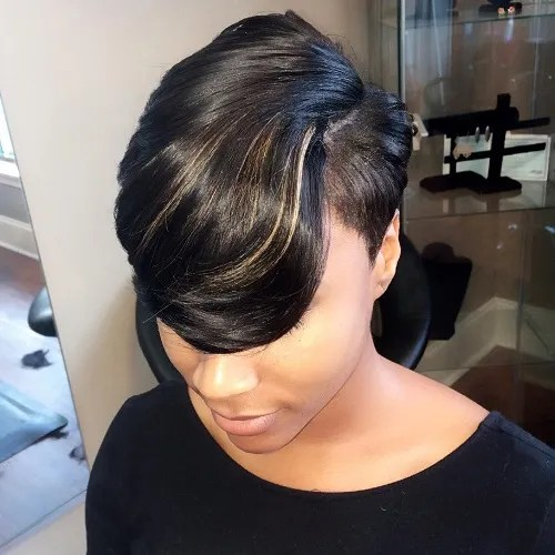 Short Weave With Long Peekaboo Bangs