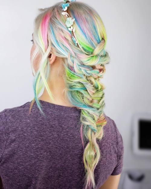 Blonde Hair With Rainbow Highlights