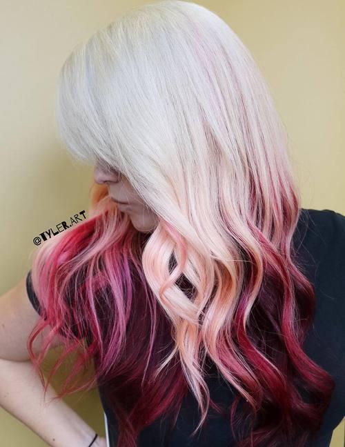 White Blonde Hair With Burgundy Dip Dye