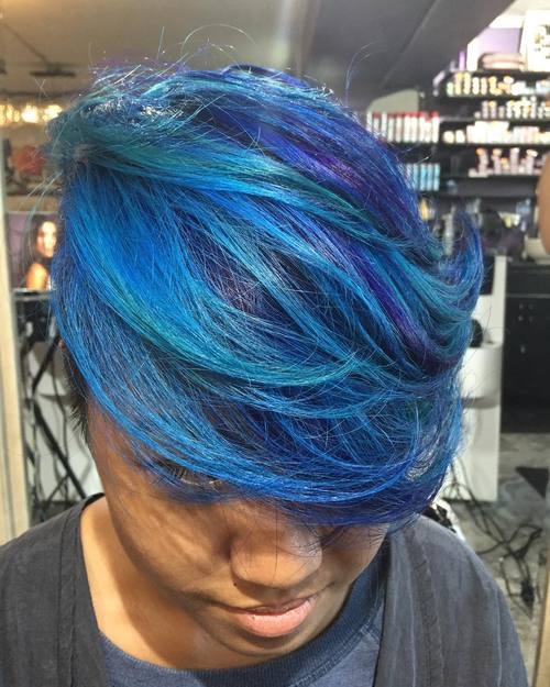 Blue Hair With Teal Highlights