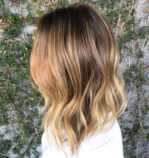 Angled Brown Blonde Lob