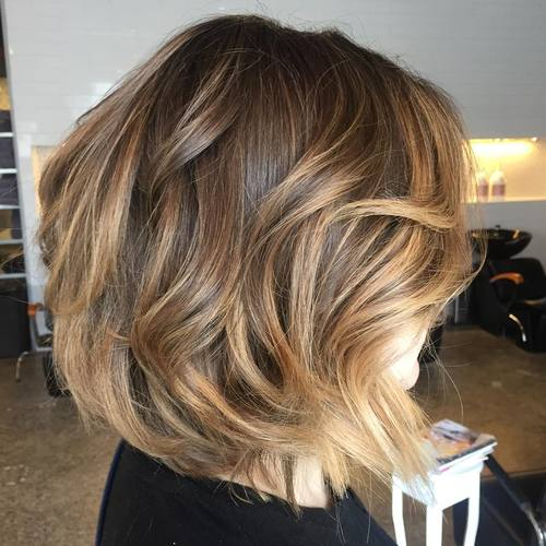 Medium Brown Balayage Bob