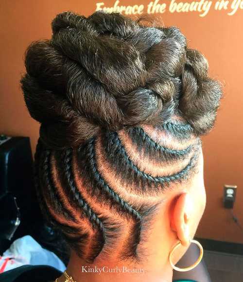 High Flat Twists Updo With Extensions
