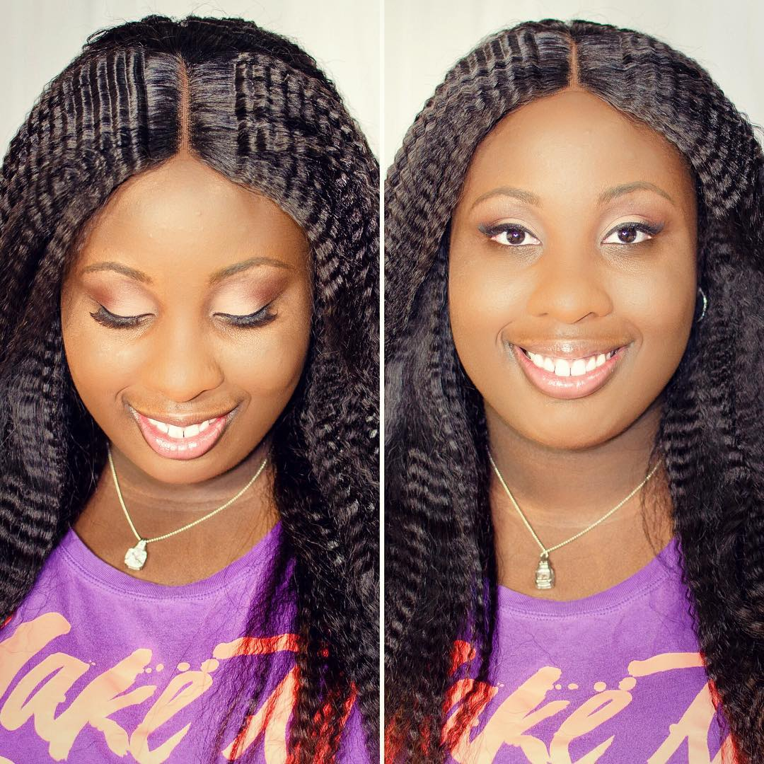 Centre-Parted Crimped Hairstyle