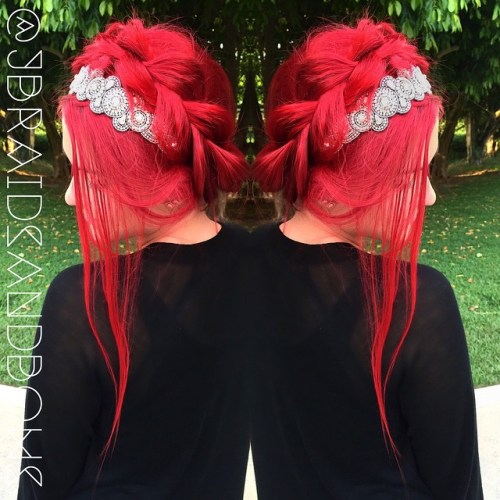 Braided Crimson Updo
