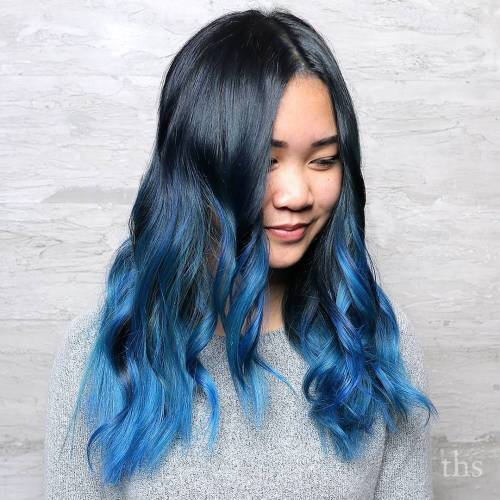 Black To Pastel Blue Ombre