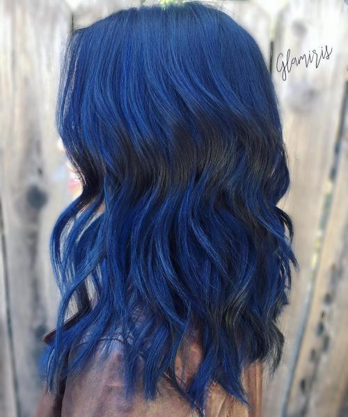 Medium Layered Blue Hairstyle