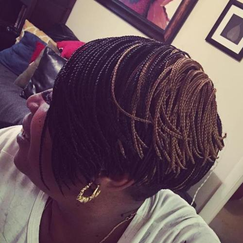 Short Layered Bob With Mini Braids