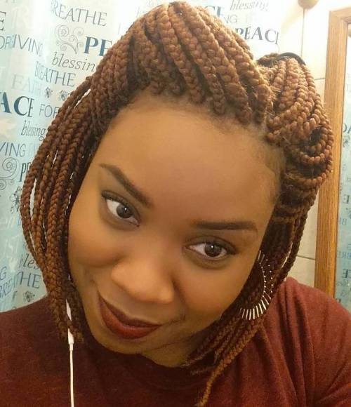 Half Up Box Braids Bob Hairstyle