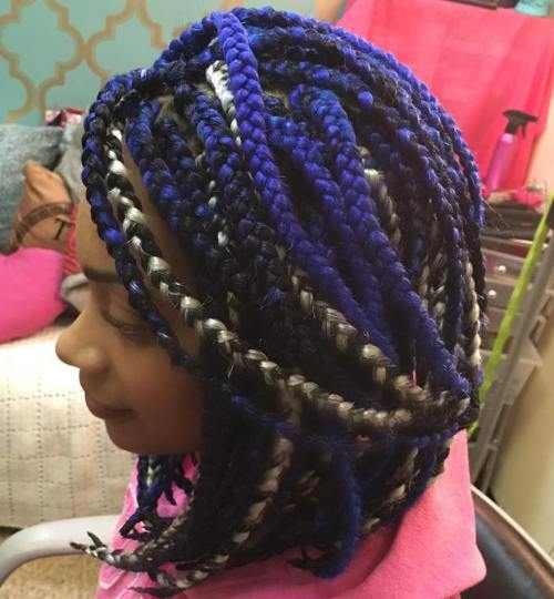 Black, Blue And Blonde Box Braids Bob