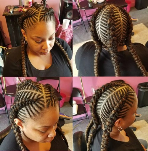 African American Three Fishbone Braids