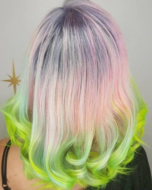 Light Pastel Pink Hair With Lime Dip Dye