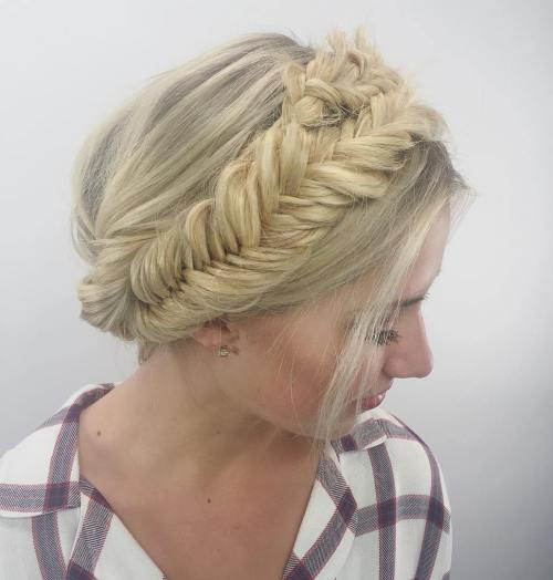 Updo With A Headband Fishtail