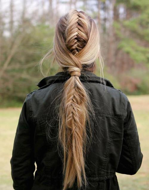Long Braided Ponytail With A Low Wrap