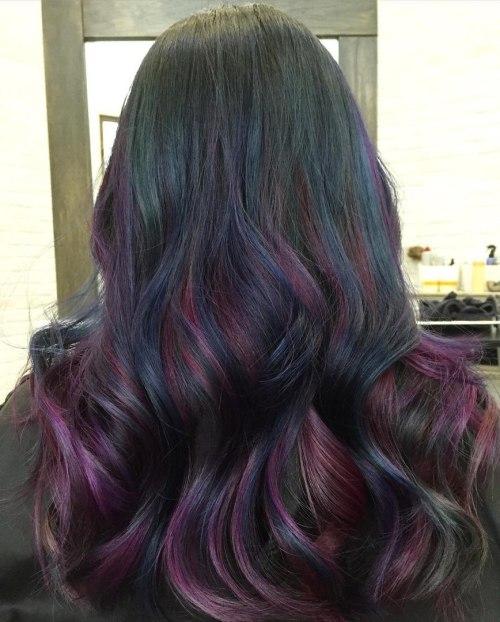 Black Hair With Burgundy Highlights