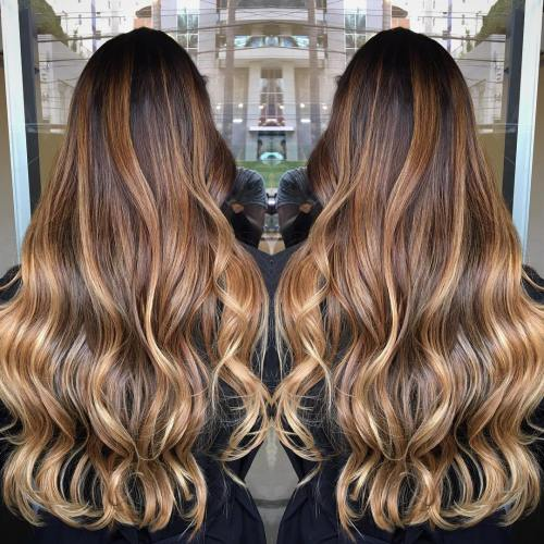 Long Tiger's Eye Balayage Hair