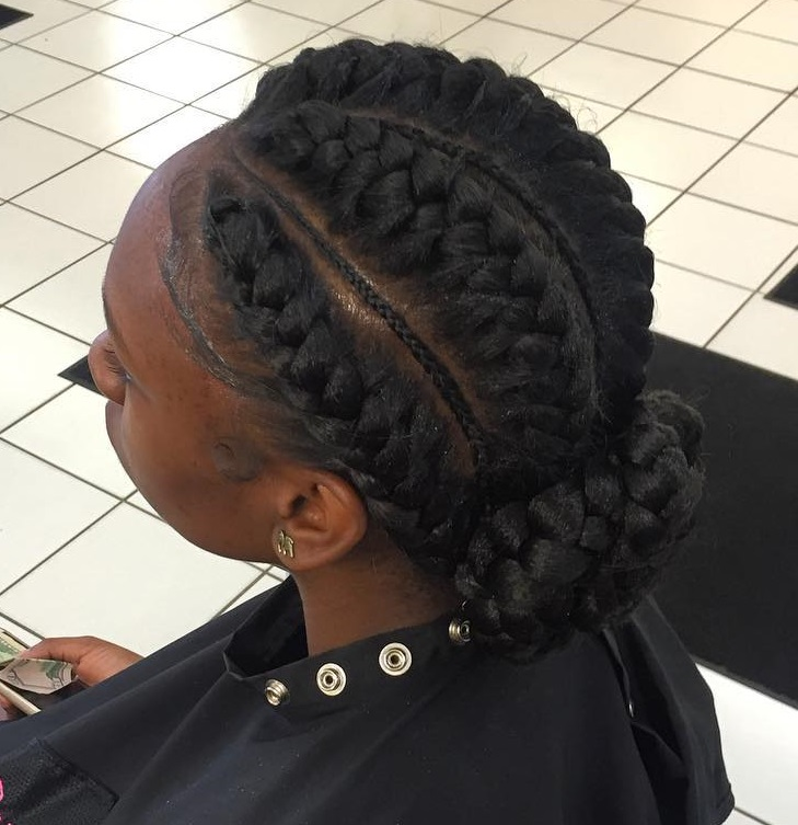 Underbraids With A Low Bun Updo