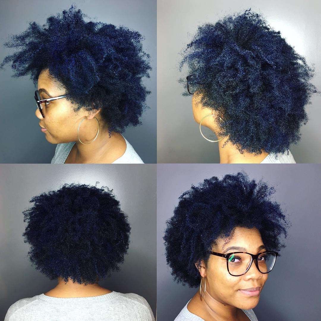 Short Natural Blue Black Hair