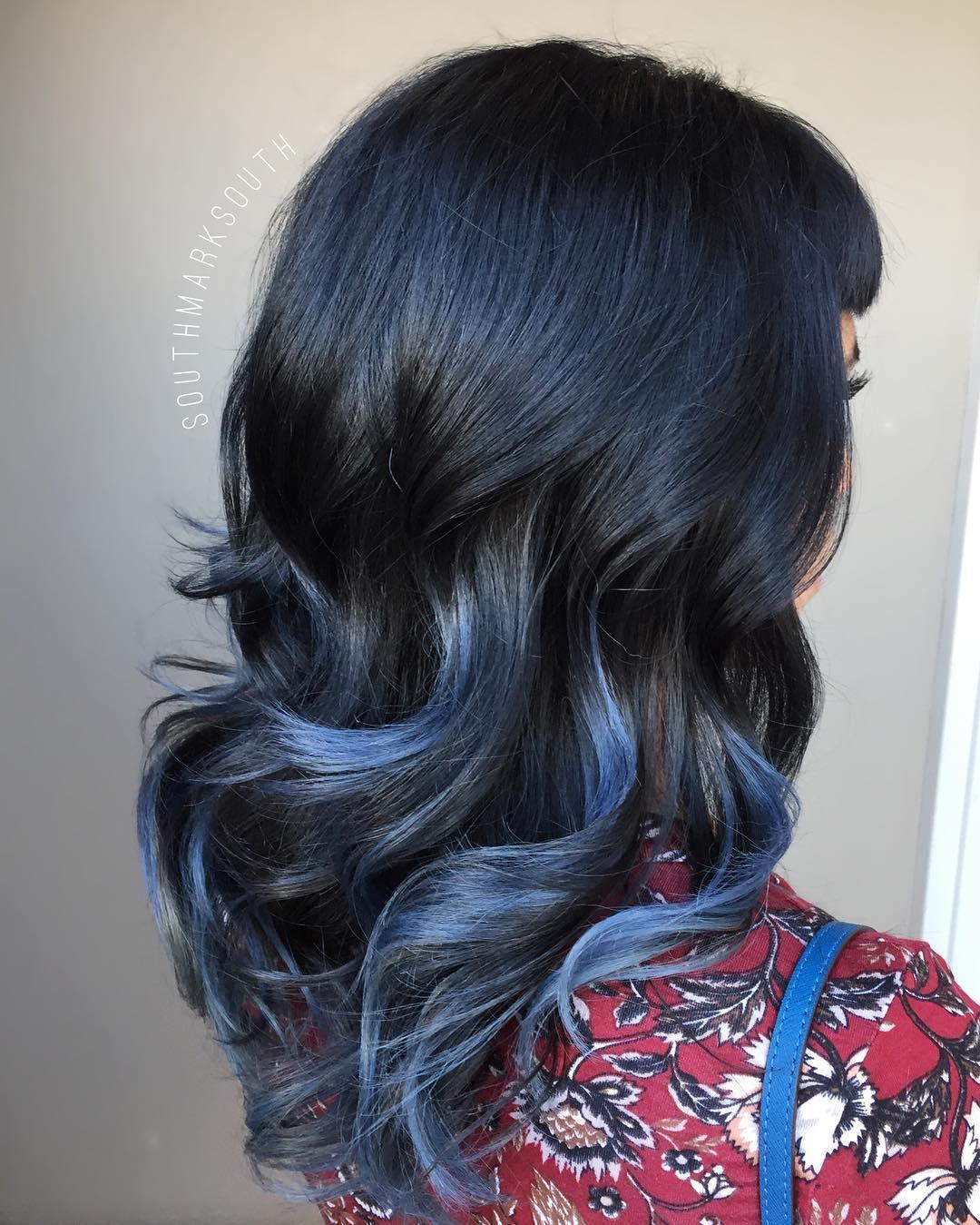 Chunky Blue Highlights For Black Hair