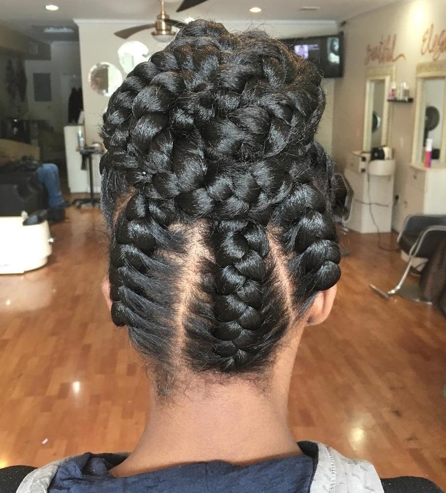under braids hairstyles : Under Braids In A Bun Updo