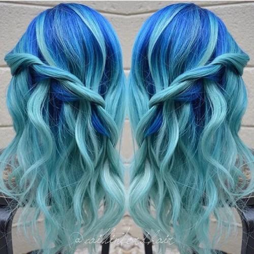 Cobalt Blue And Aquamarine Hair Color