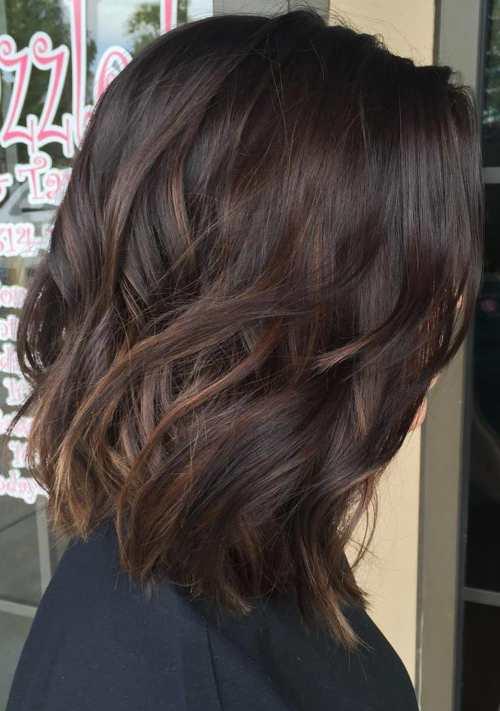 medium dark brown hair with subtle balayage