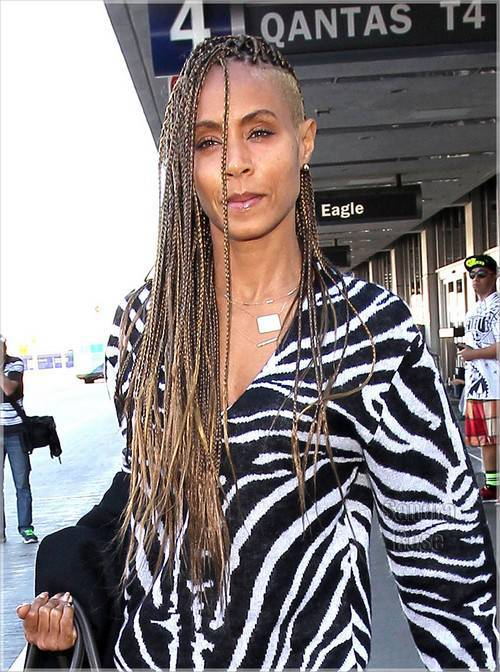 Jada Pinkett box braids with temple undercut