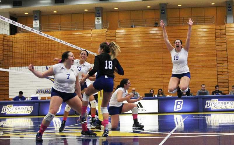 CSUB celebrates after scoring the final point in a clean sweep of Grand Canyon at the Icardo center on Saturday, Oct. 24.  Photo by AJ Alvarado/The Runner