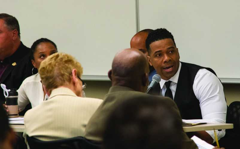 """Danny Morrison, HOT 94.1 radio personality, spoke at """"After Trayvon, What?"""" in the Housing East Multi-Purpose Room on April 19."""