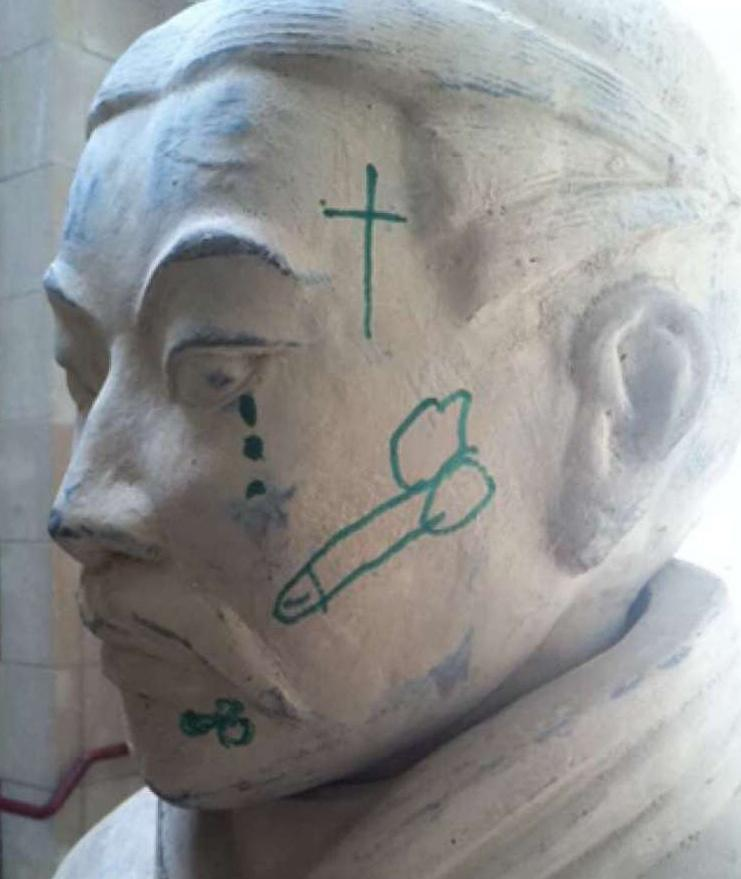 Graffiti on the face of a Terracotta warrior