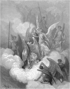 "Gustave Doré, Paradise Lost, Book VI (1866): ""This greeting on thy impious crest receive."" (VI.188)"