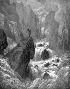 "Gustave Doré, Paradise Lost, Book IX (1866): ""In with the River sunk, and with it rose / Satan."" (IX.74-75)"