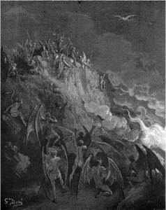 "Gustave Doré, Paradise Lost, Book X (1866): ""And now expecting / Each hour thir great adventurer from the search / Of Forrein Worlds."" (X.439-41)"