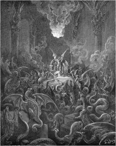 "Gustave Doré, Paradise Lost, Book X (1866): ""Dreadful was the din / Of hissing through the Hall, thick swarming now / With complicated monsters head and taile."" (X.521-23)"