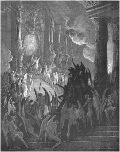 "Gustave Doré, Paradise Lost, Book II (1866): ""High on a throne of royal state, which far / Outshone the wealth or Ormus and of Ind."" (II.1-2)"
