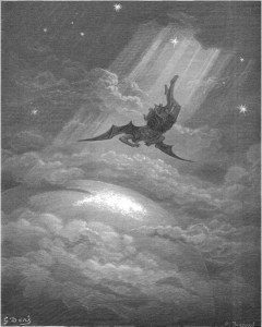 "Gustave Doré, Paradise Lost, Book III (1866): ""Toward the coast of earth beneath, / Down from the ecliptick, sped with hoped success, / Throws his steep flight in many an aery wheel."" (III.739-41)"