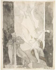Henry Fuseli, Satan leaving the Gate of Hell, guarded by Sin and Death (1821)