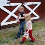 Amanda and her new friend take their cake walk winnings to share