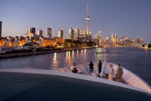 Mariposa Cruises, harbour front skyline at sunset, Toronto, Ontario