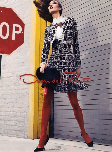 oscar ad 2 FALL 2011 TREND ALERT: COLORED TIGHTS   The Sche Report / Margaret Sche