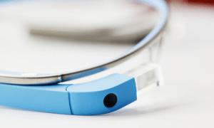 Closeup of Google Glass camera and screen