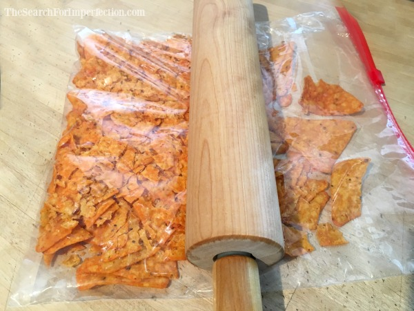 Crush the chips with a rolling pin.