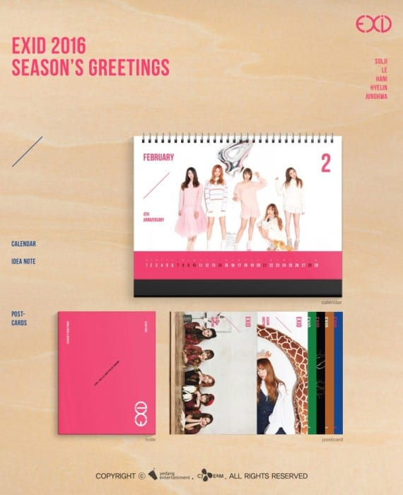 Includes Desk Calendar + EXID Photo Note + Postcard Set Release Date : 21 Dec 15