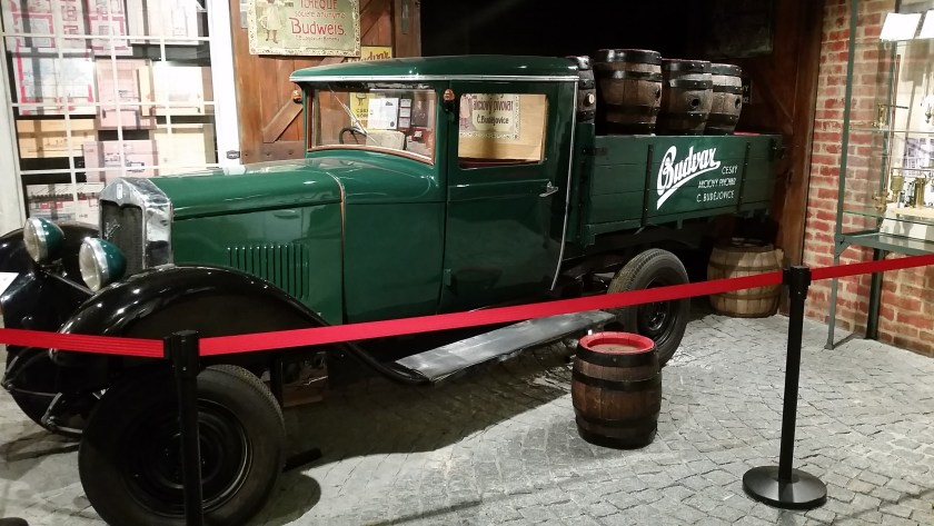 An old distribution truck used by Budweiser Budvar to deliver beers.
