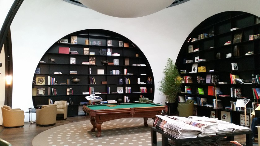 The pool table and library. Located inside of the Turkish Airlines CIP Lounge in Istanbul, Turkey.