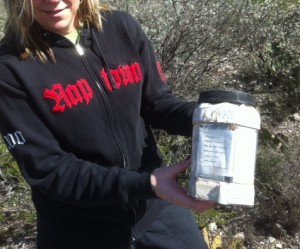 "Here is an example of a medium sized geocache, labeled as an ""easy find""."
