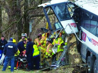 The impact after the Mlaker Charter & Tours bus hit a tree after it veered off the PA Turnpike; the tragedy killed coach Quigley.