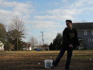 Ian Roth practicing outside his New Jersey home.